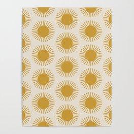Golden Sun Pattern Poster