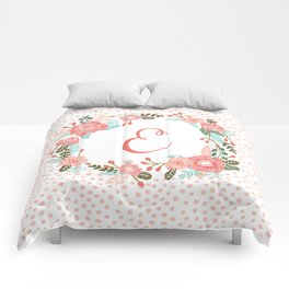 Monogram E - cute girls coral florals flower wreath, coral florals, baby girl, baby blanket Comforters