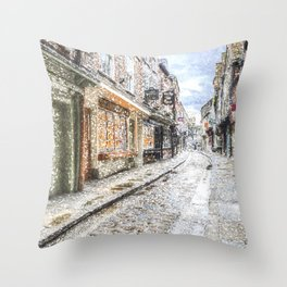 The Shambles York Snow Art Throw Pillow