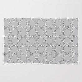 Silver Grey Quatrefoil Pattern Rug