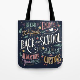 Back to school colorful typography drawing on blackboard with motivational messages, hand lettering Tote Bag