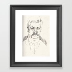 rough ron swanson Framed Art Print