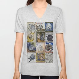 Medieval Cats Licking Their Butts Unisex V-Neck