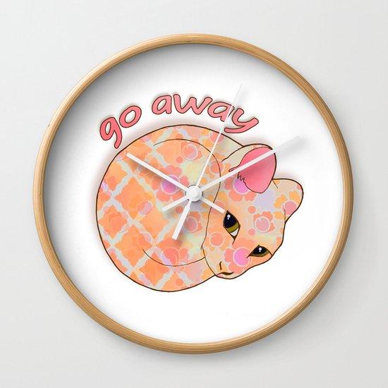 Go Away - Patterned Cat Illustration  Wall Clock