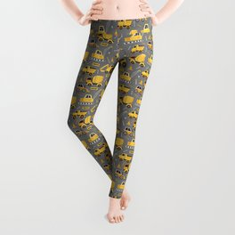 Construction Trucks on Gray Leggings