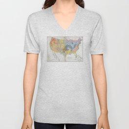 1874 Geological Map of the United States Unisex V-Neck