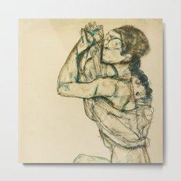 "Egon Schiele ""Female nude with raised shirt"" Metal Print"