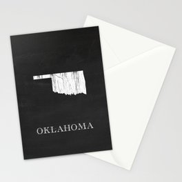 Oklahoma State Map Chalk Drawing Stationery Cards
