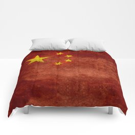 The National flag of the People's Republic of China in Vintage retro distressed texture form Comforters