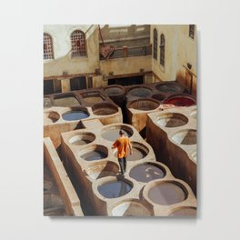 Fes, Morocco Tannery Metal Print