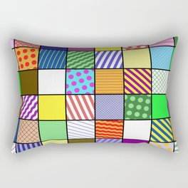 Retro Patchwork - Abstract, geometric, patterned design Rectangular Pillow