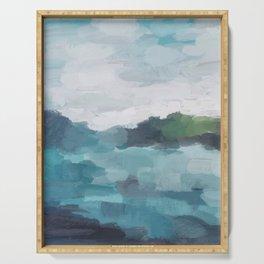 Aqua Blue Green Abstract Art Painting Serving Tray