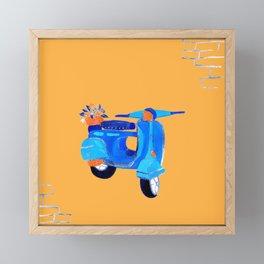 Blue vintage vespa Framed Mini Art Print