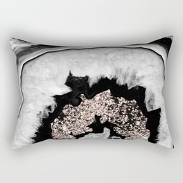 Gray Black White Agate with Rose Gold Glitter #1 #gem #decor #art #society6 Rectangular Pillow