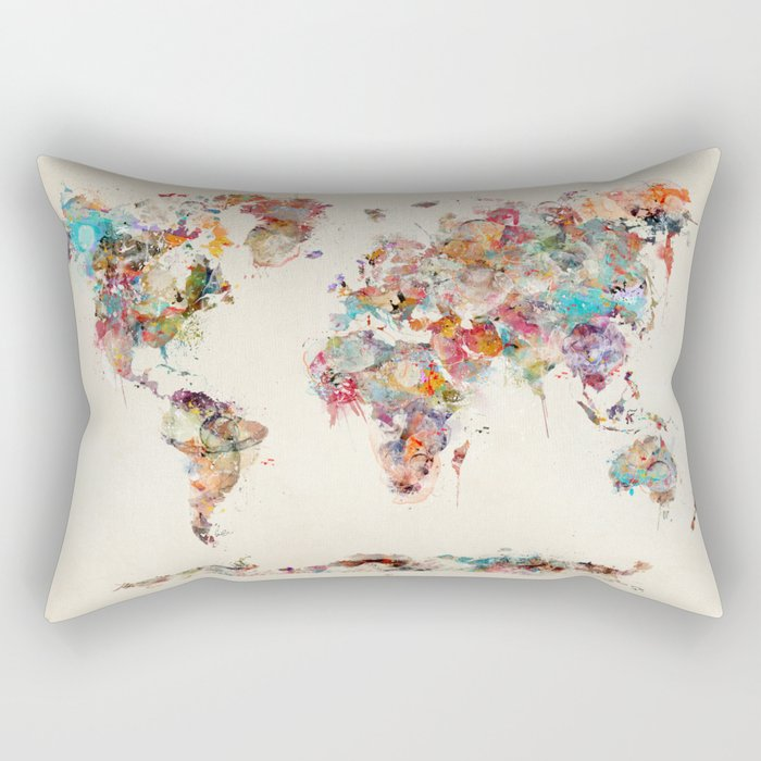 world map watercolor deux Rectangular Pillow