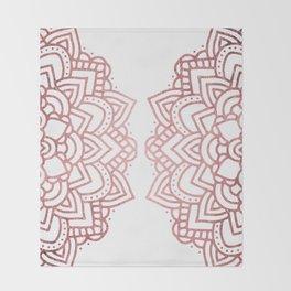 Modern geometric white rose faux gold floral mandala Throw Blanket