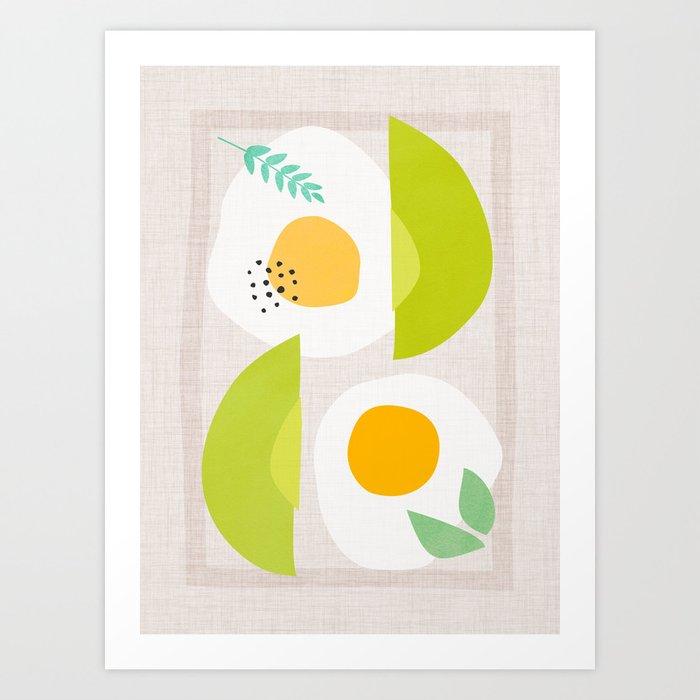 Minimalist Avocado and Eggs Art Print
