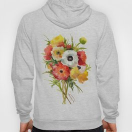 Flowers, Buttercups, orange red white yellow garden floral design Hoody