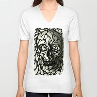 bee V-neck T-shirts featuring Skull by Ali GULEC