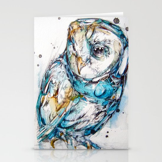The Sea Glass Owl Stationery Cards