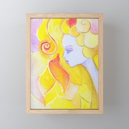 Lady Autumn Watercolor Art Nouveau Gold Framed Mini Art Print