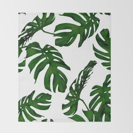 Simply Tropical Palm Leaves in Jungle Green Throw Blanket