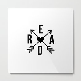 Read Crossed Arrows with Heart Metal Print