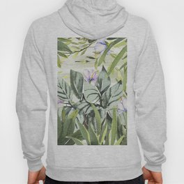 Tropical  lavender forest green watercolor floral Hoody