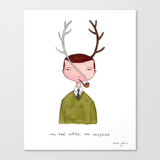 One real antler, one imagined Canvas Print