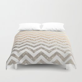 GOLD & SILVER CHEVRON Duvet Cover