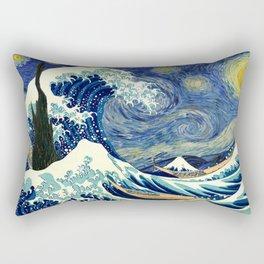The Great Wave Off Kanagawa Starry Night Rectangular Pillow