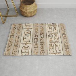 Egyptian hieroglyphs Pastel Gold Rug