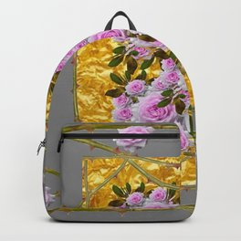 GOLD & PINK ROSES WITH THORN CANES GREY ART Backpack