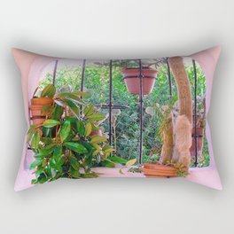 Potted Plants Behind Bars on Porch Rectangular Pillow