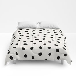 Modern Polka Dots Black on Light Gray Comforters