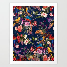 FLORAL AND BIRDS XII Art Print