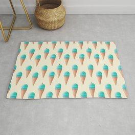 Blue Ice Cream Cone Pattern - Cream Rug