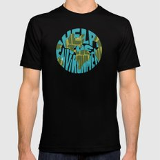 Help The Environment MEDIUM Mens Fitted Tee Black