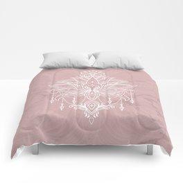 Blush pink mandala Comforters