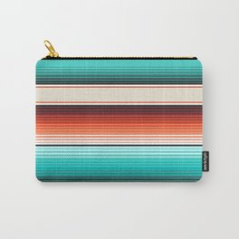 Navajo White, Turquoise and Burnt Orange Southwest Serape Blanket Stripes Carry-All Pouch