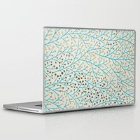 turquoise Laptop & iPad Skins featuring Berry Branches – Turquoise & Gold by Cat Coquillette