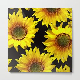 Large Sunflowers on a black background #decor #society6 #buyart Metal Print