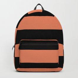 Fringe Orange, Orange Slice, Fiery Sky, Heirloom Tomato Hand Drawn Fat Horizontal Lines on Black Backpack