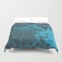boston Duvet Covers featuring Boston map by Map Map Maps