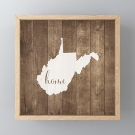 West Virginia is Home - White on Wood Framed Mini Art Print