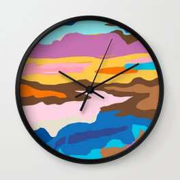 Shape and Layers no.19 - Abstract Modern Landscape Wall Clock