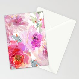 Big Watercolor Flowers in Violet and Pink Stationery Cards
