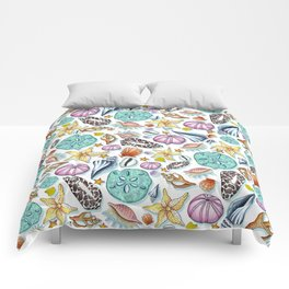 Illustrated Seashell Pattern Comforters