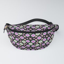 Butterfly And Flower Medallions - Onyx Black Color Fanny Pack