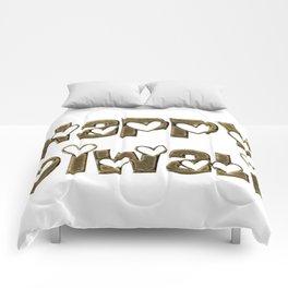 Happy Diwali Festival of Lights Typography Comforters